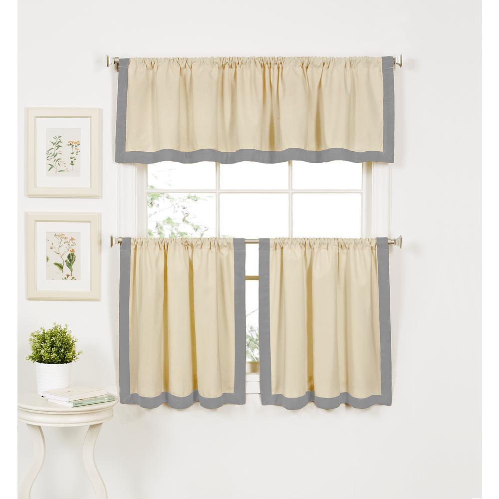 Wilton 60 in. W x 15 in. L Cotton Single Window Curtain Valance in Gray