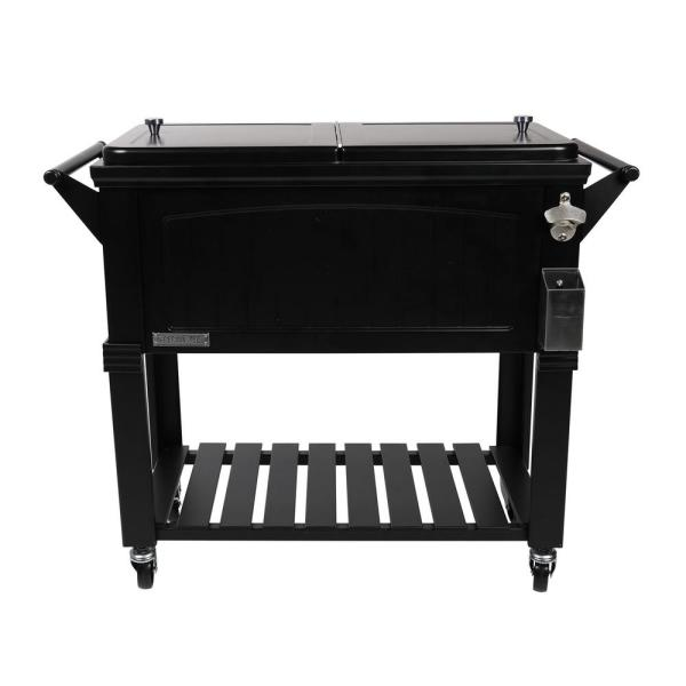 80 Qt. Black Antique Furniture Style Rolling Patio Cooler