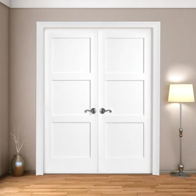 60 in. x 80 in. 3-Panel Equal Shaker White Primed Solid Core Wood Double Prehung Interior Door with Bronze Hinges
