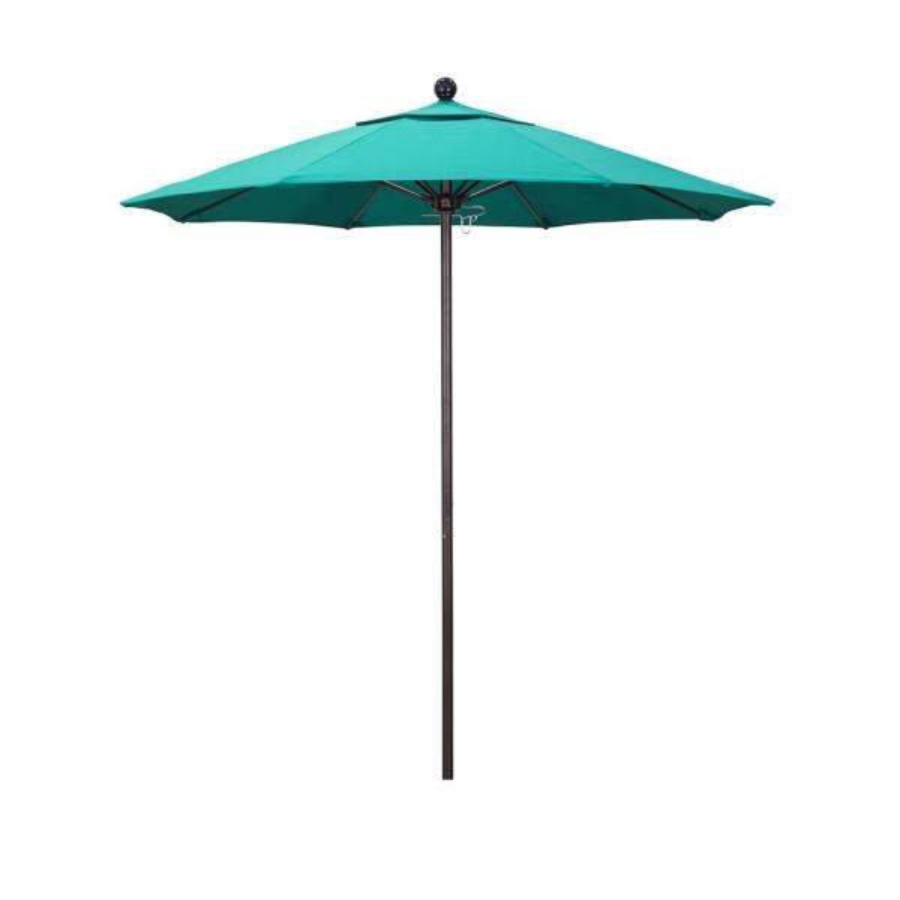 7.5 ft. Bronze Aluminum Market Push Lift Patio Umbrella in Aruba Sunbrella