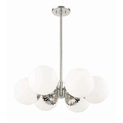 Paige 6-Light Polished Nickel Chandelier with Opal Glossy Glass Shade