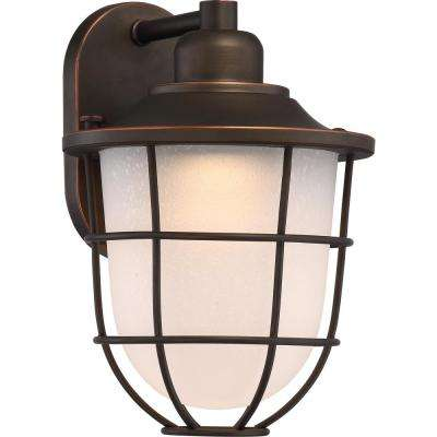 1-Light Mahogany Bronze Outdoor Lantern