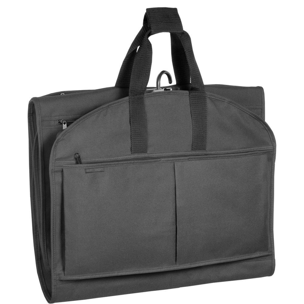 WallyBags 52 in. Black GarmenTote Tri-Fold Garment Bag with Pockets 550