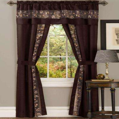 Sheer Fairfield Chocolate Window Curtain Set - 55 in. W x 84 in. L