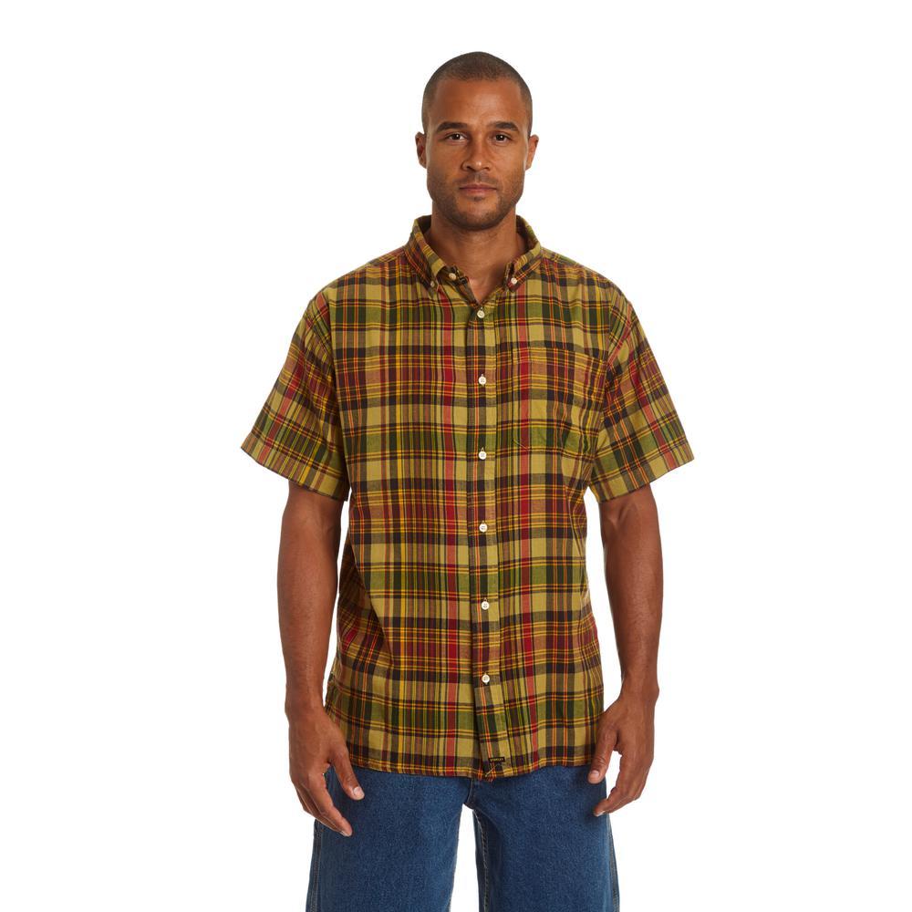Men's Large Popcorn Short Sleeve Plaid Shirt