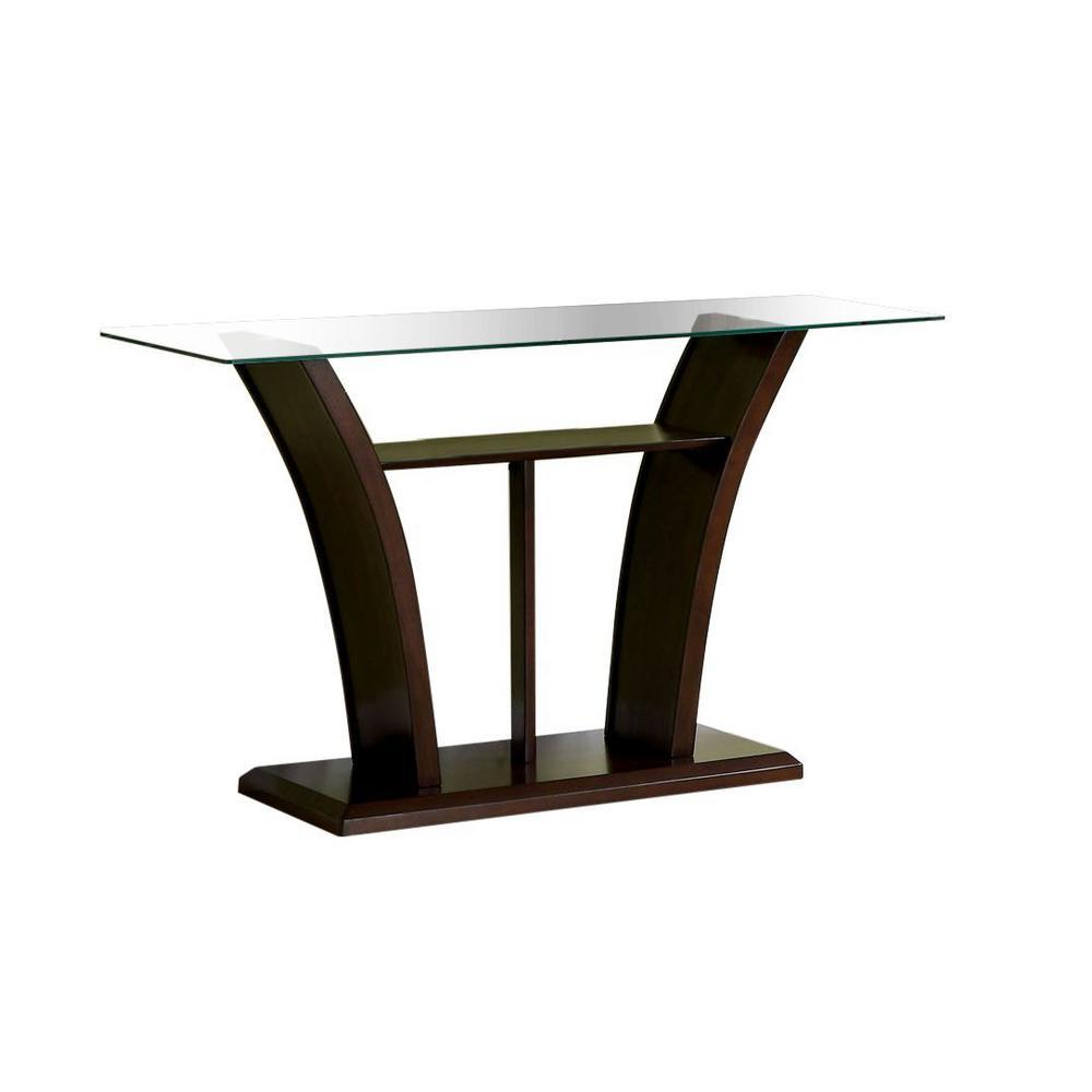 Furniture of America Ali Dark Cherry Glass Sofa Table IDF-4104S