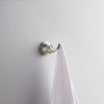 Forte Double Sculpted Robe Hook in Vibrant Brushed Nickel