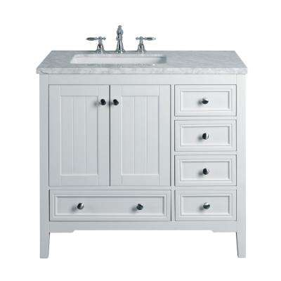 New Yorker 36 in. White Single Sink Bathroom Vanity with Marble Vanity Top and White Basin