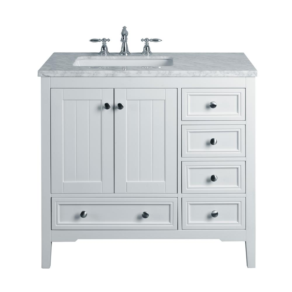 White Single Sink Bathroom Vanity with Marble Vanity Top and