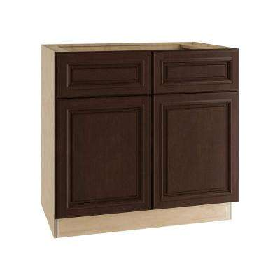 Somerset Assembled 36x34.5x24 in. Double Door Base Kitchen Cabinet, 2 Drawers & 2 Rollout Trays in Manganite