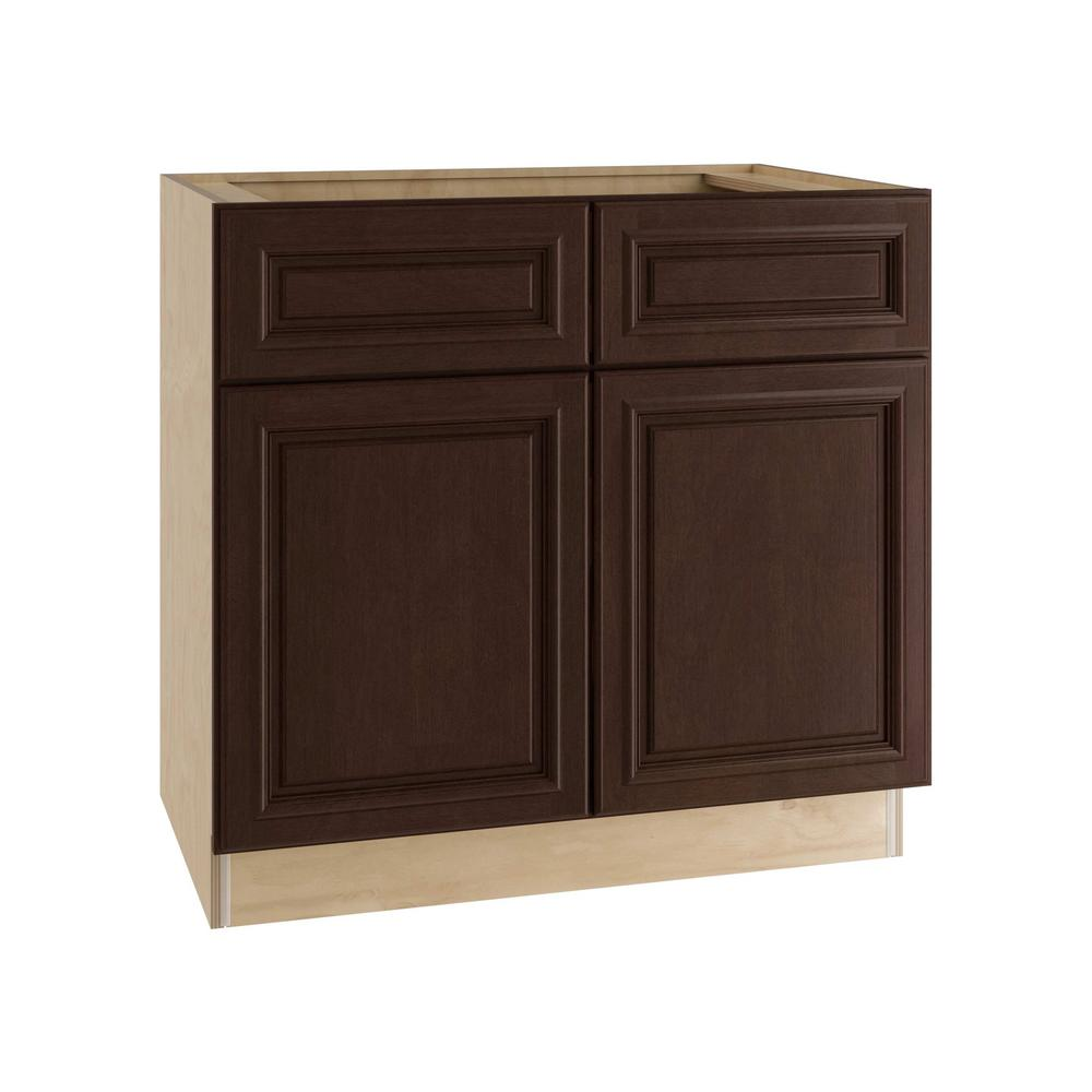 Home Decorators Collection Somerset Assembled 36x34.5x24 in. Base Cabinet with 2 Doors and 2 Drawers in Manganite