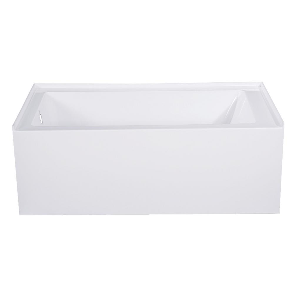 Aqua Eden Jenny 54 in. Acrylic Left-Hand Drain Rectangular Alcove Bathtub in White