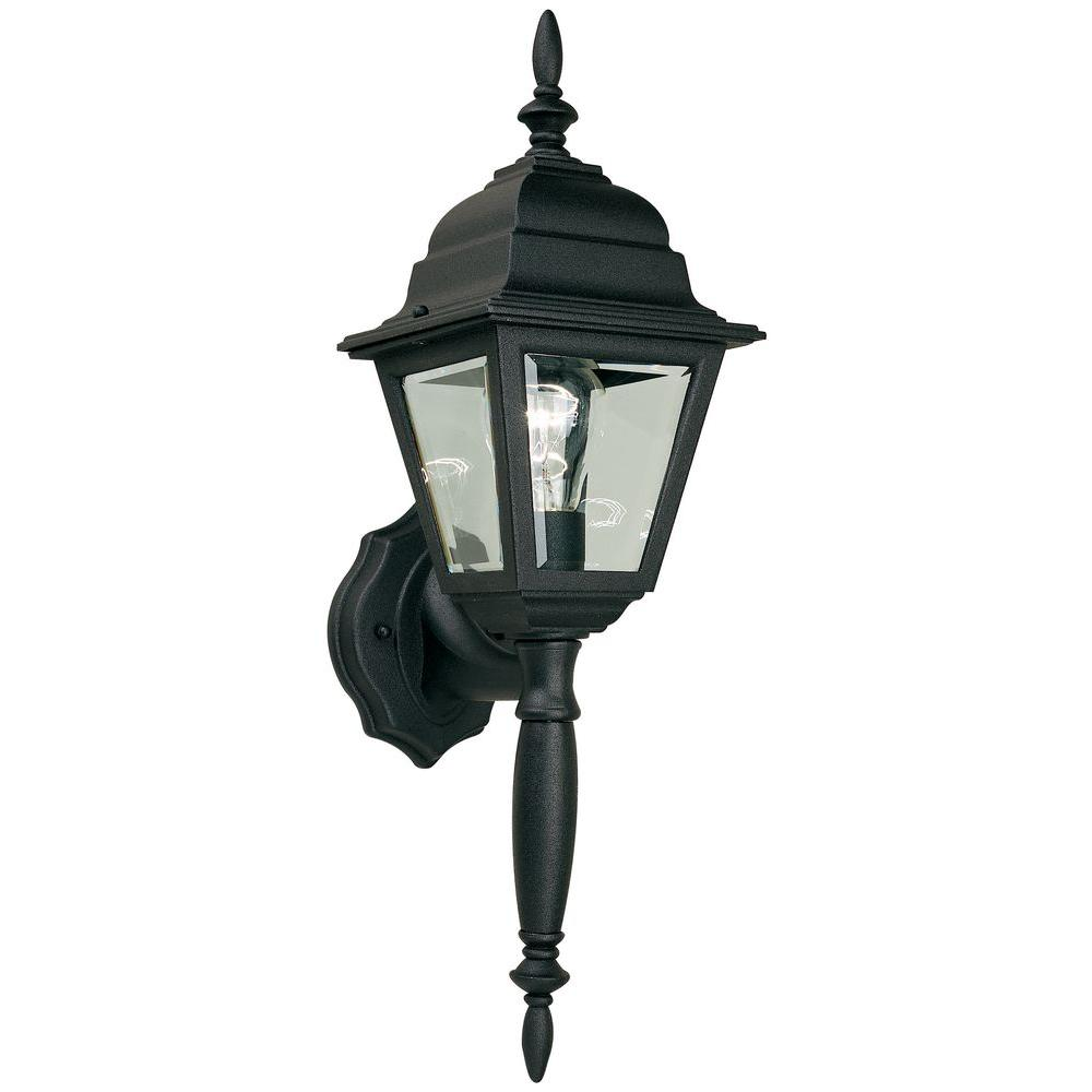 Hampton bay 1 light black outdoor wall lamp hb7023p 05 the home depot hampton bay 1 light black outdoor wall lamp aloadofball Images