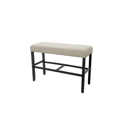 Sania II Rustic Style Counter Height Bench in Antique Black Finish