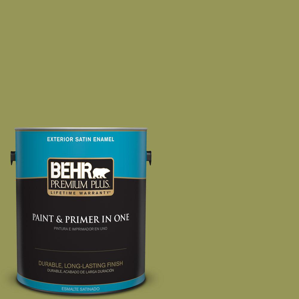 1-gal. #400D-6 Grape Leaves Satin Enamel Exterior Paint