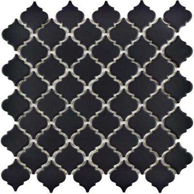 Hudson Tangier Matte Black 12-3/8 in. x 12-1/2 in. x 5 mm Porcelain Mosaic Tile