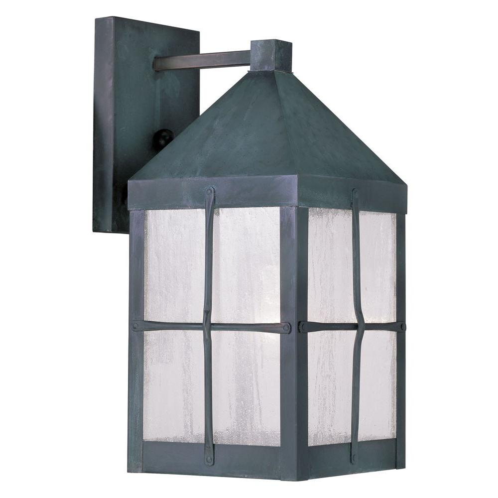 Providence Wall-Mount 1-Light Hammered Charcoal Outdoor Incandescent Lantern