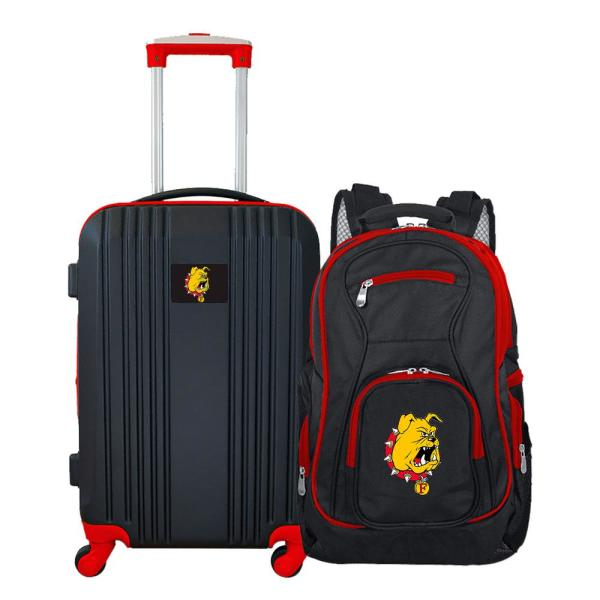 Mojo NCAA Ferris State Bulldogs 2-Piece Set Luggage and Backpack CLFEL108
