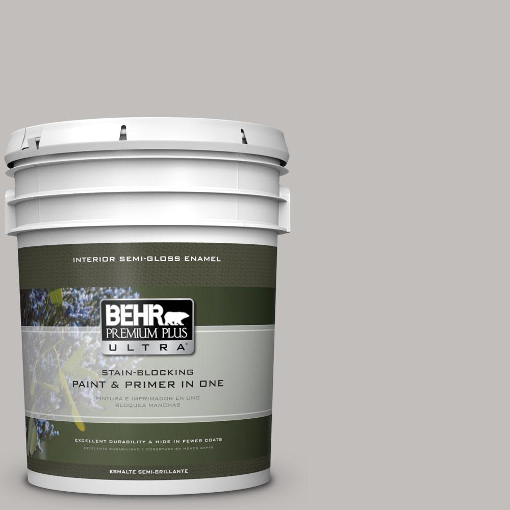 5 gal. #HDC-WR15-3 Noble Gray Semi-Gloss Enamel Interior Paint