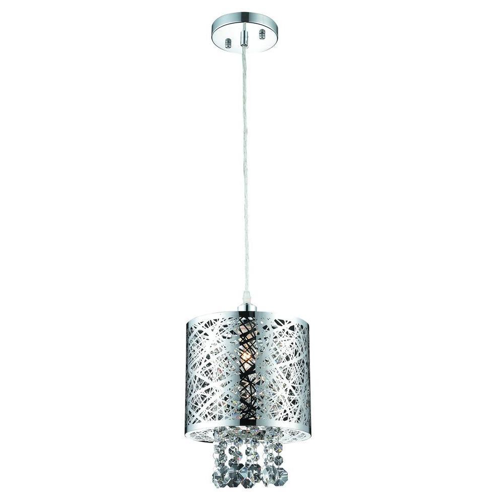 Decor Living 1-Light Chrome Small Pendant-103976-15 - The Home Depot