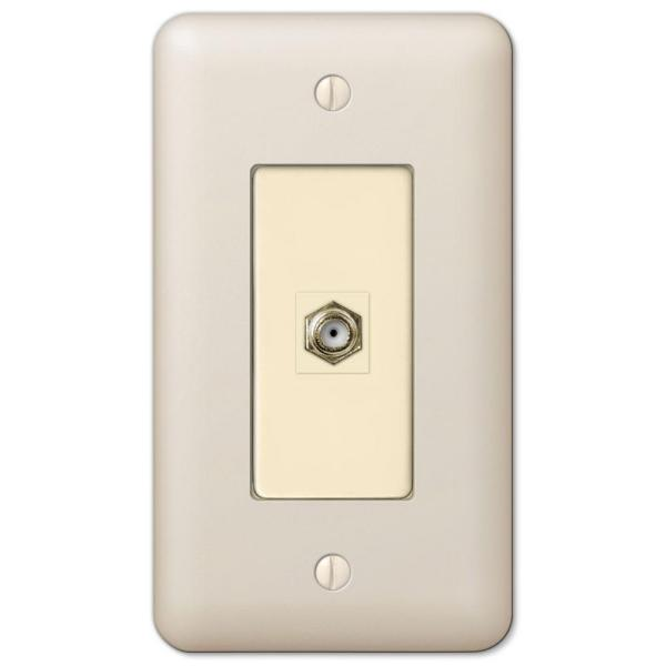 Declan 1 Gang Coax Steel Wall Plate - Almond