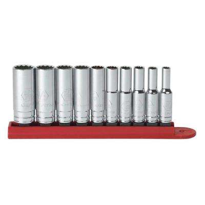 1/4 in. Drive 12-Point Deep Socket Set (10-Piece)