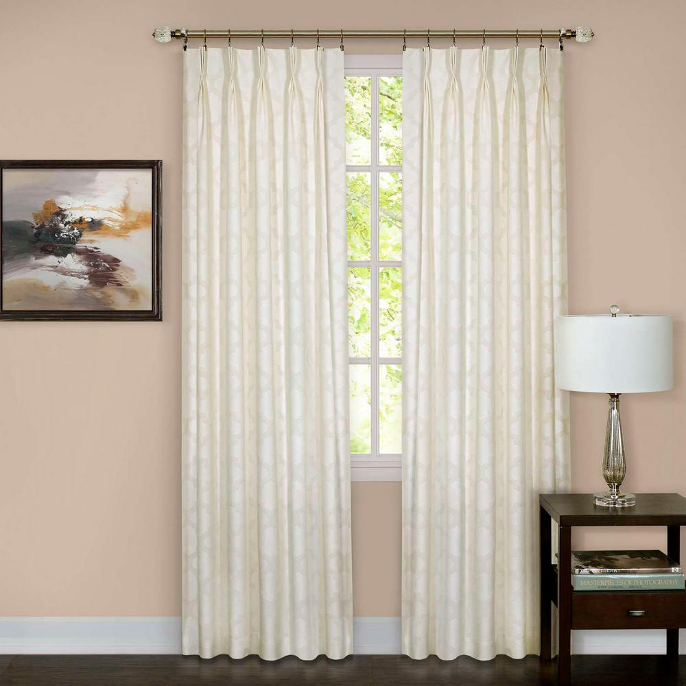 Sheer Windsor Ivory Pinch Pleat Window Curtain Panel - 34 in.