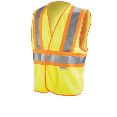 High-Visibility Yellow 2-Tone Reflective Construction Safety Vest (Case of 5)