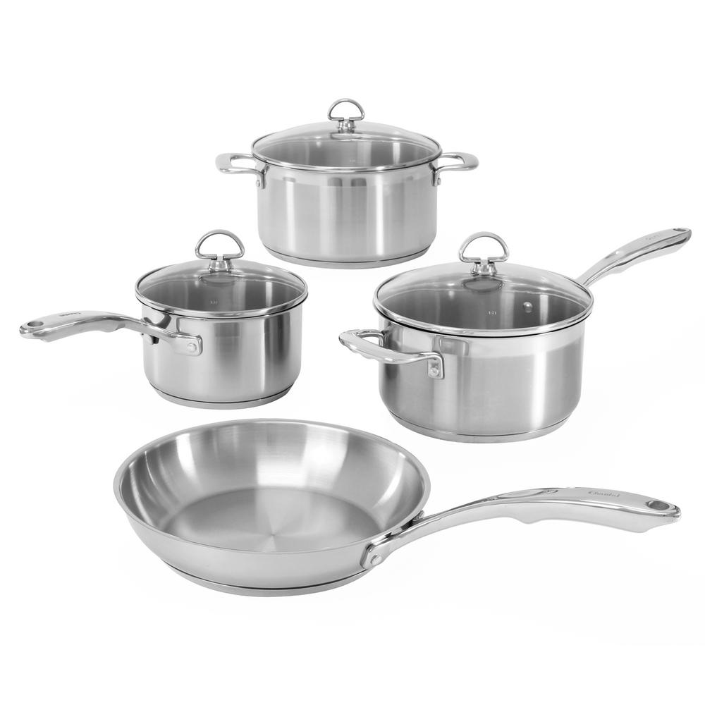 Induction 21 Steel 7 Piece Cookware Set In Stainless Steel, Brushed Stainless Steel Body With Polished Rim