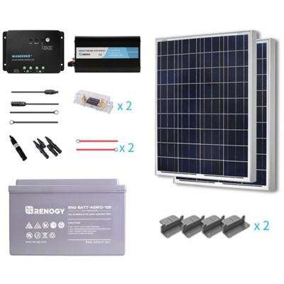 200-Watt Starter Complete Solar Panel Kit Poly Off-Grid Solar with Deep Cycle AGM Battery
