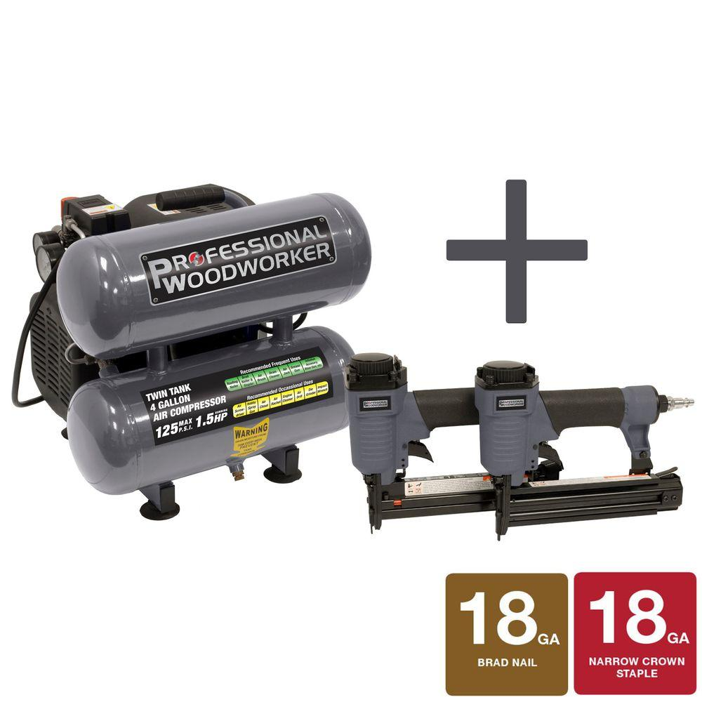 Professional Woodworker 4 gal. Pro Duty Twin Stack Oil-Lube Air Compressor with Brad Nailer and Narrow Crown Stapler Combo Kit