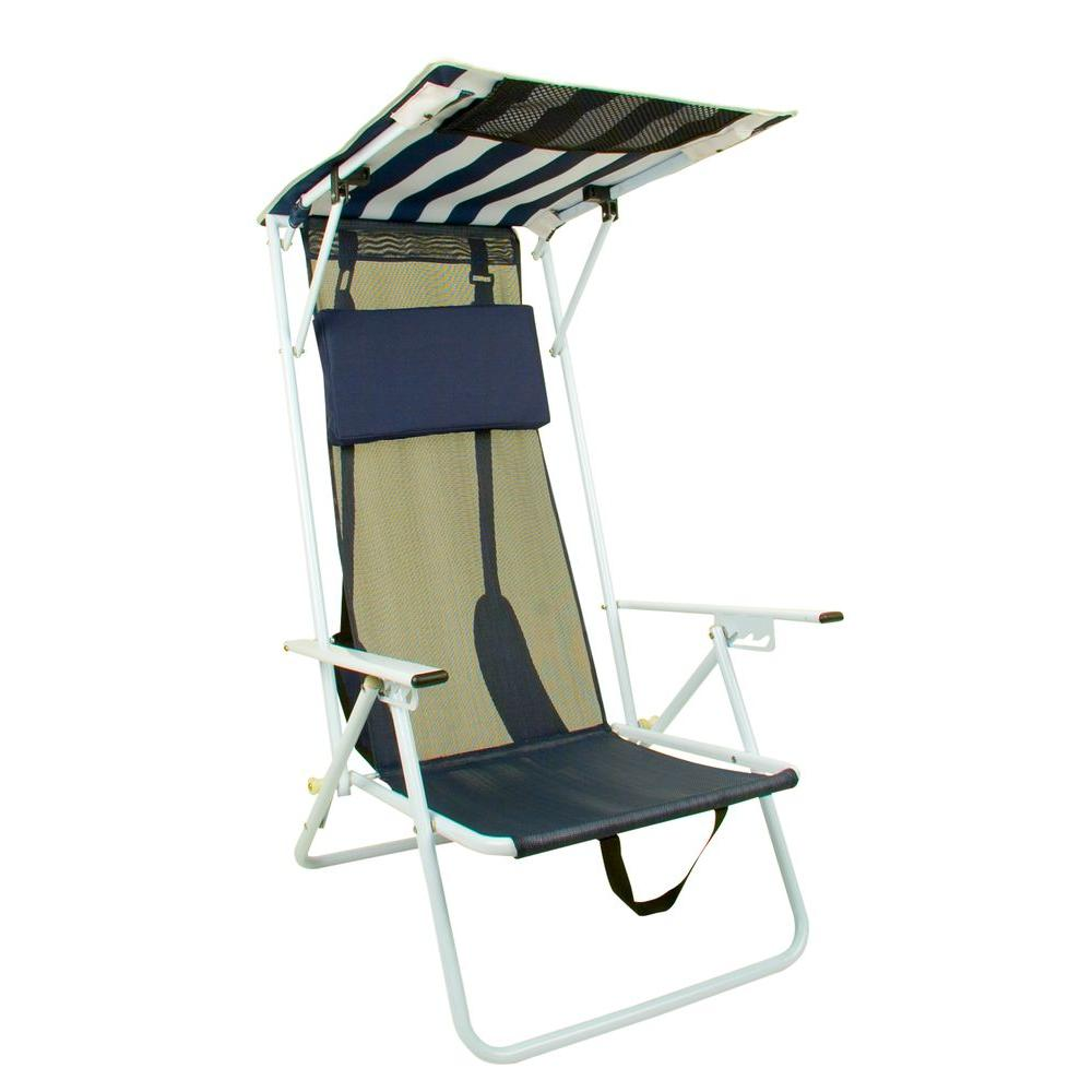 Quik Shade Navy Blue Stripe Beach Patio Folding Chair