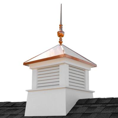 Manchester 30 in. x 30 in. x 67 in. H Square Vinyl Cupola with Victoria Copper Finial