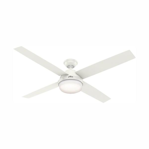 Dempsey 60 in. LED Indoor Fresh White Ceiling Fan with Universal Handheld Remote Control and Light Kit