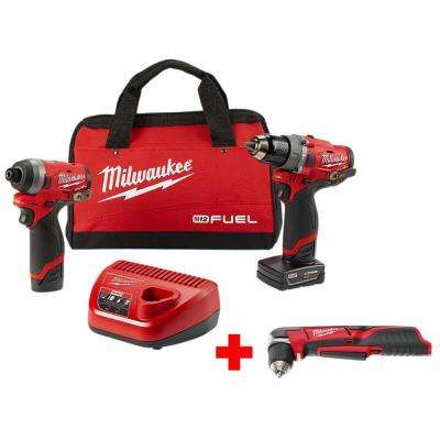 M12 FUEL 12-Volt Li-Ion Brushless Cordless Hammer Drill and Impact Driver Combo Kit(2-Tool) w/Free M12 Right Angle Drill
