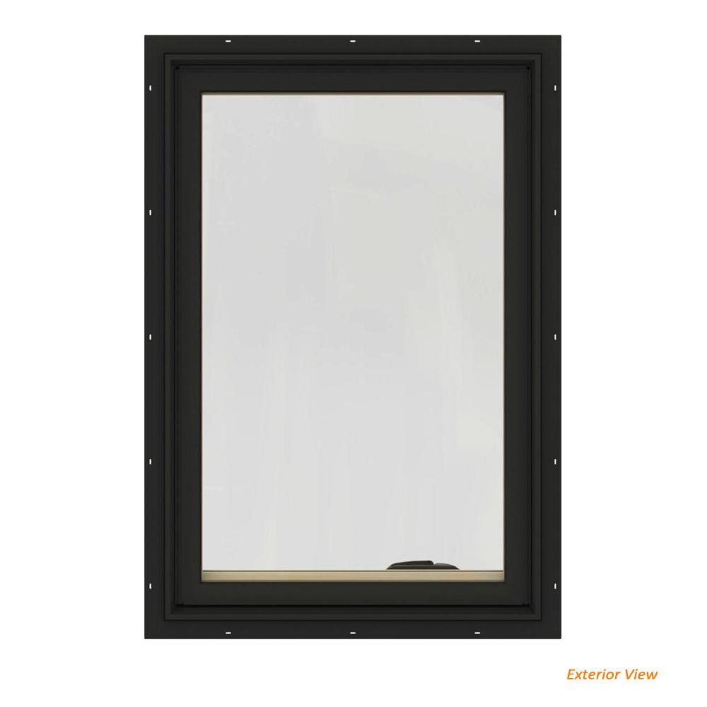 28.75 in. x 48.75 in. W-2500 Series Bronze Painted Clad Wood Left-Handed Casement Window with BetterVue Mesh Screen