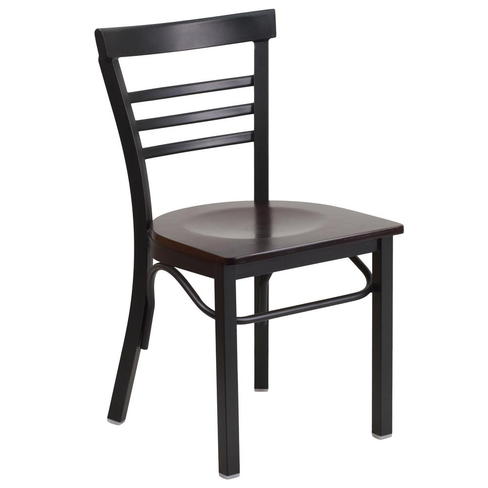 Hercules Series Black Ladder Back Metal Restaurant Chair   Walnut Wood