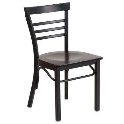 Hercules Series Black Ladder Back Metal Restaurant Chair with Walnut Wood Seat