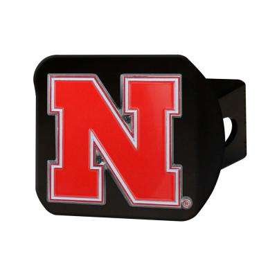 NCAA University of Nebraska Color Emblem on Black Hitch Cover
