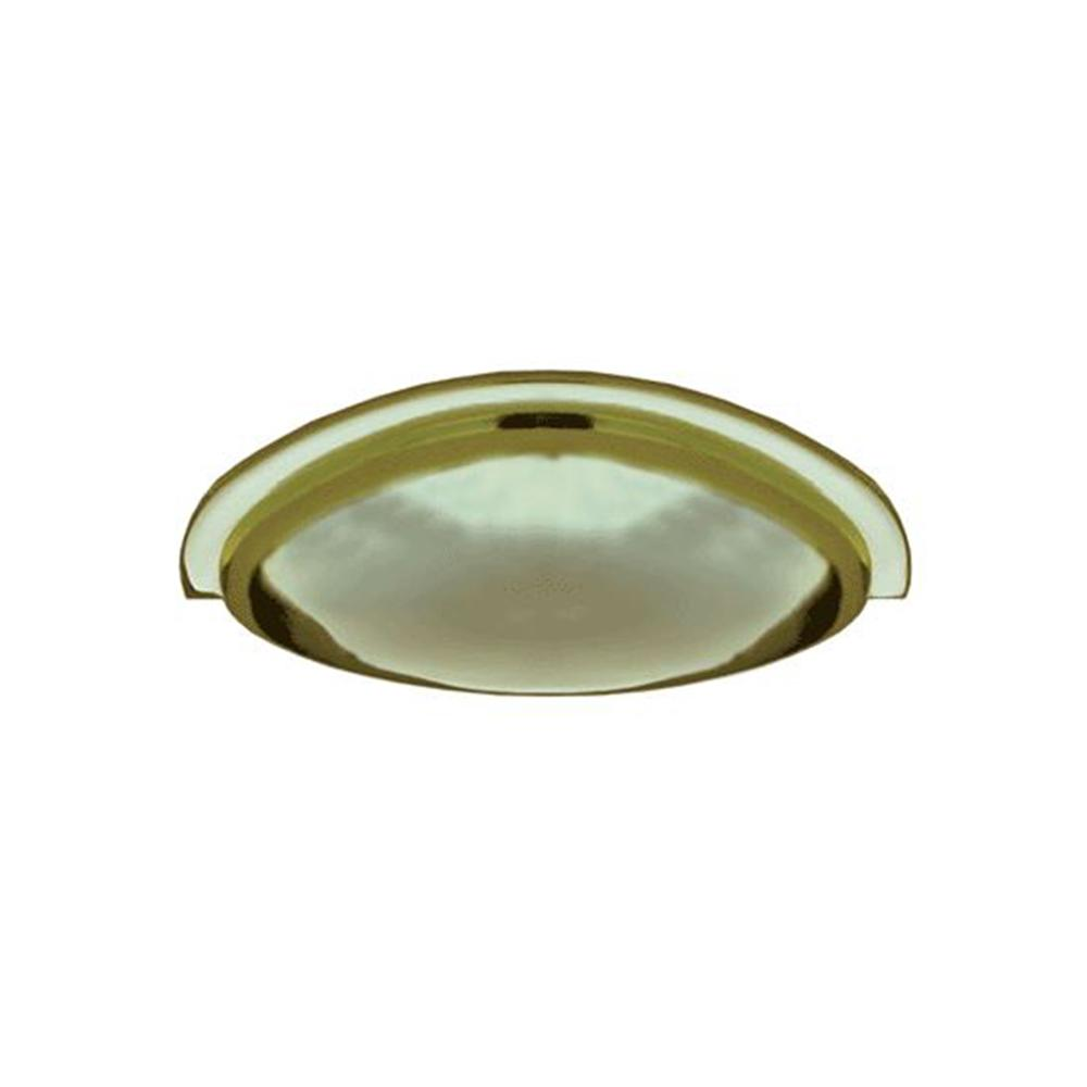 3 in. Center-to-Center Polished Brass Cast Metal Traditional Cup Drawer Pull