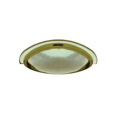 3 in. Polished Brass Cast Metal Traditional Cup Pull