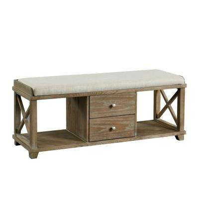 Catherine Weathered Oak 2-Drawer Shoe Rack Bench