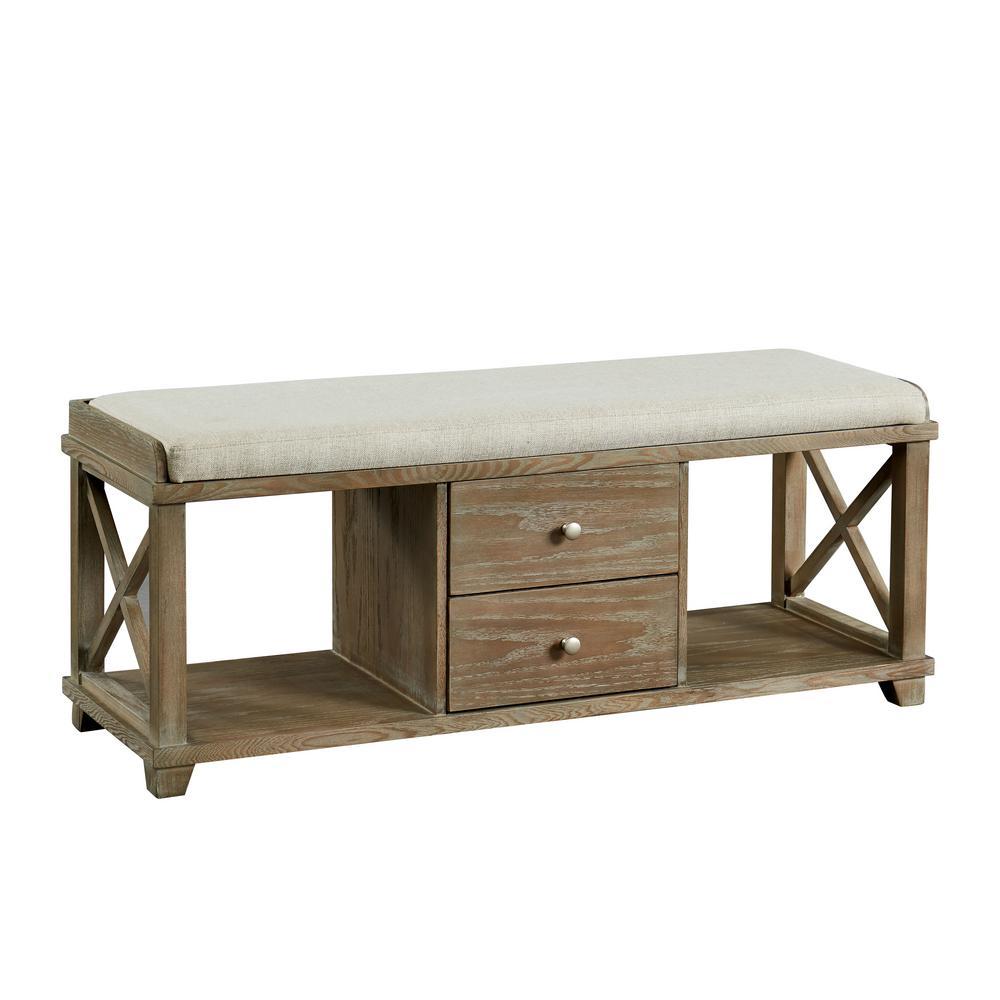 Furniture of America Catherine Weathered Oak 2-Drawer Shoe Rack Bench IDF-AC309A
