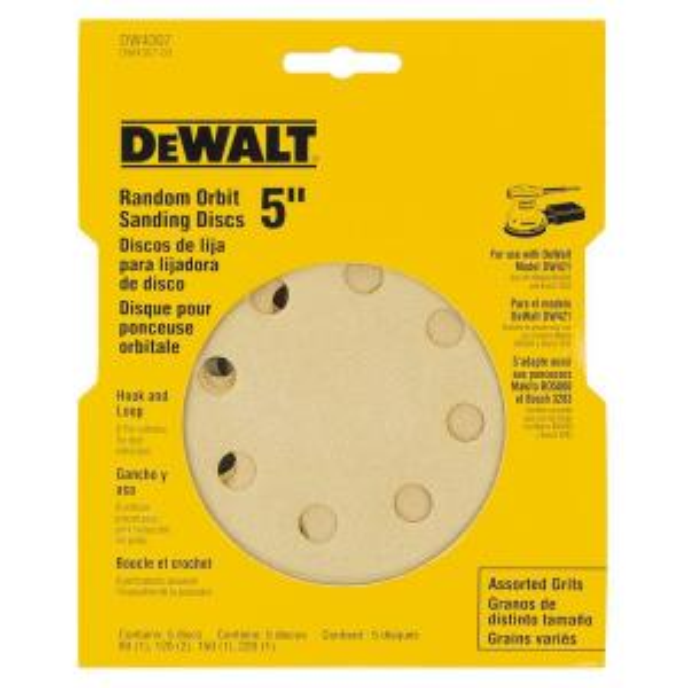 Dewalt 5 inch 8 Hole Assortment H and L Random Orbit Sandpaper (5-Pack) by DEWALT