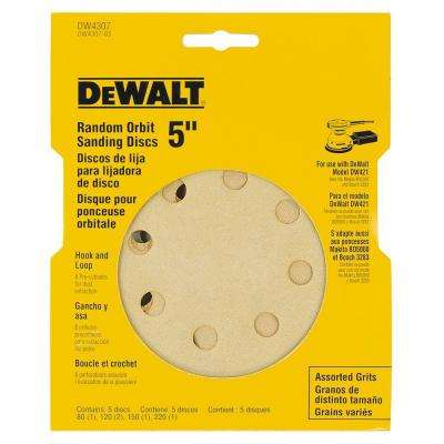 5 in. 8 Hole Assortment H and L Random Orbit Sandpaper (5-Pack)