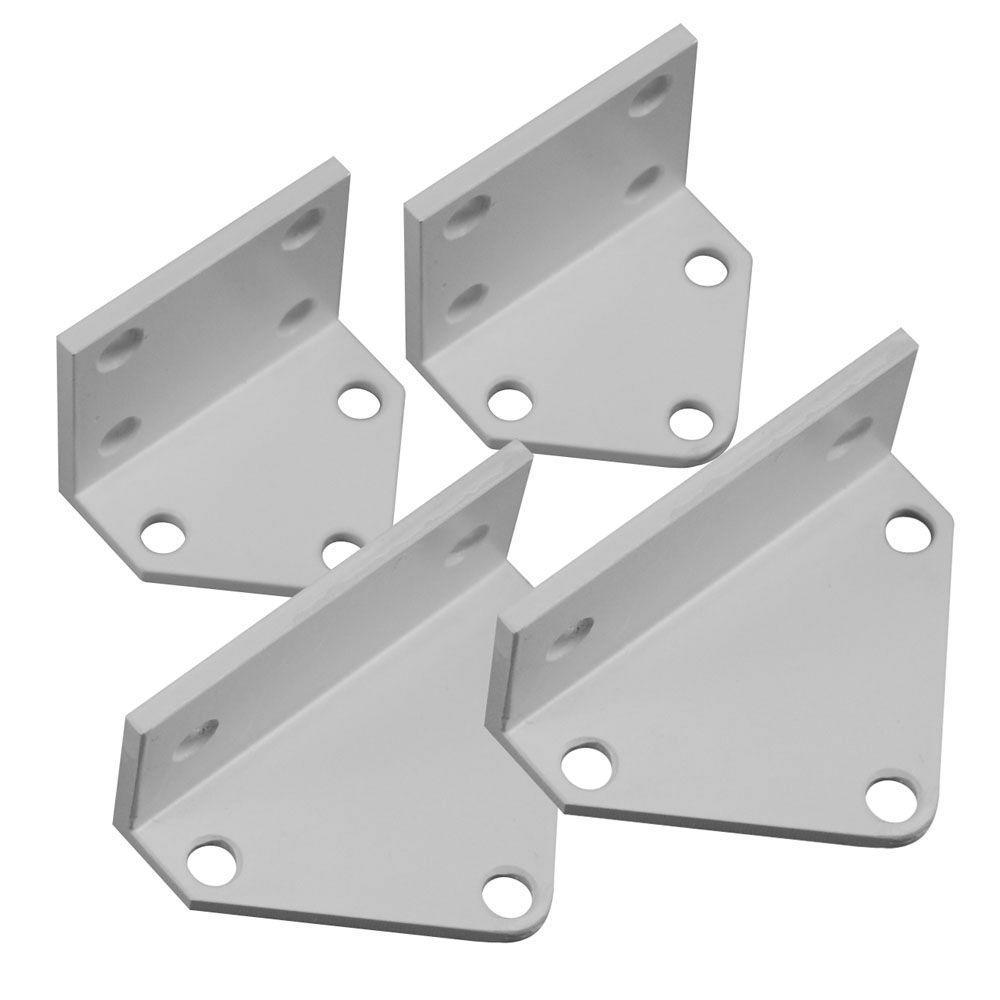 Vinyl Rail Line Bracket Kit Veranda Post Level Stair Railing Installation 4-Pack