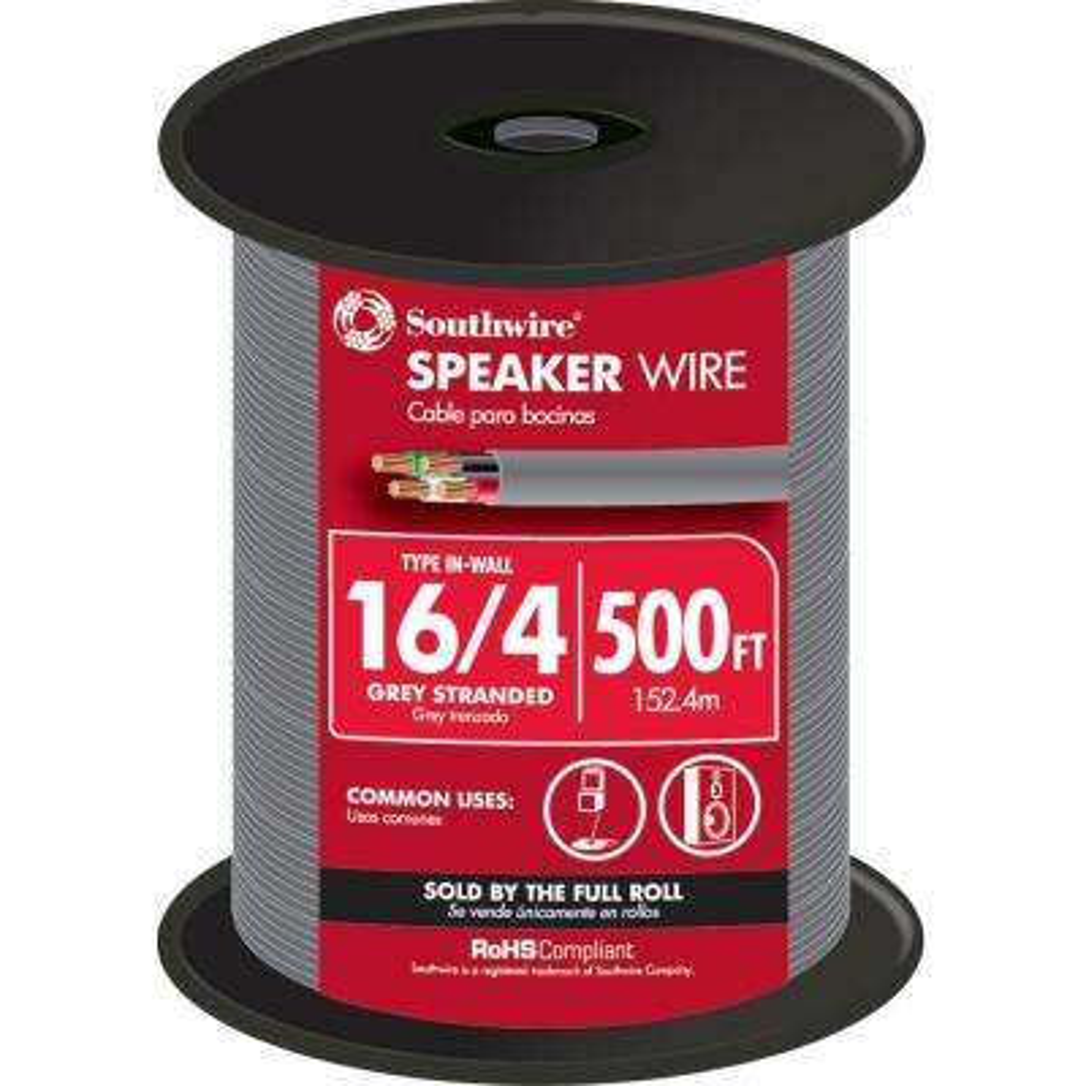 500 ft. 16/4 Grey Stranded CU In-Wall CMR/CL3R Speaker Wire
