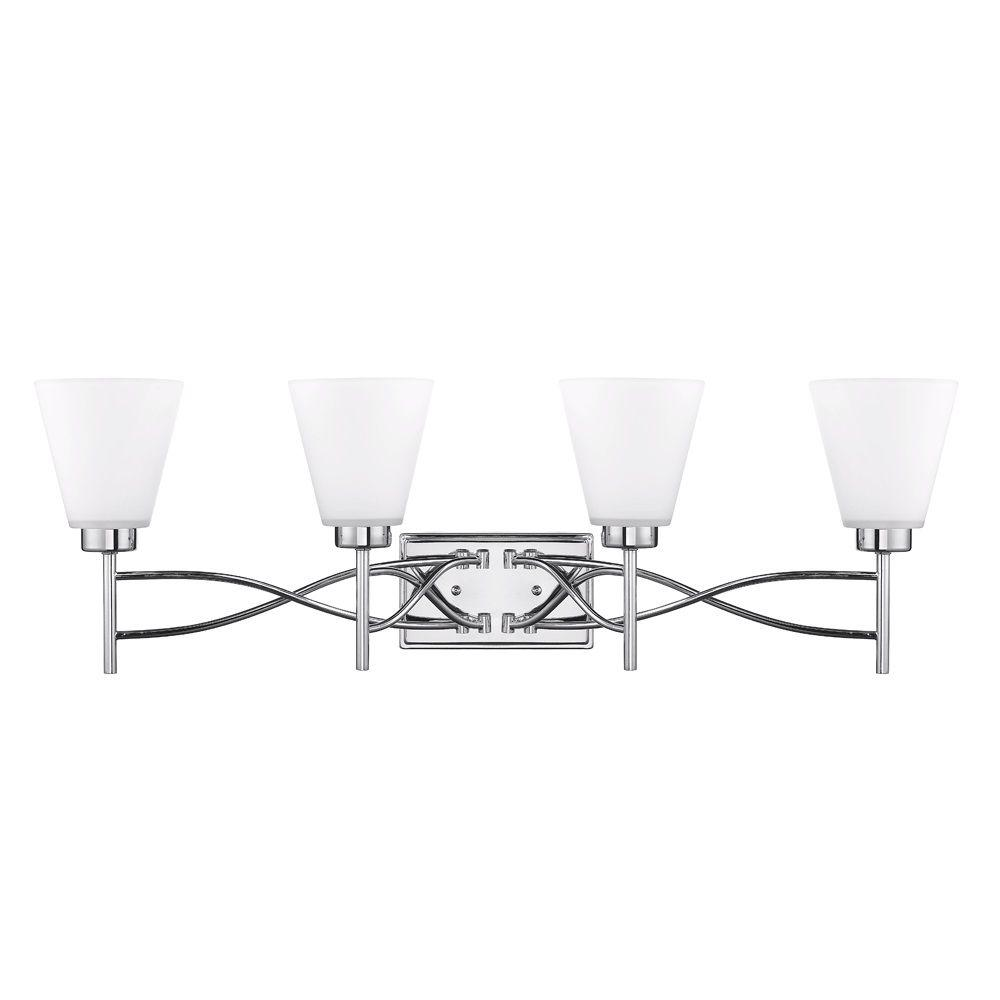 null Leyden Collection 4-Light Chrome Bath Vanity Light