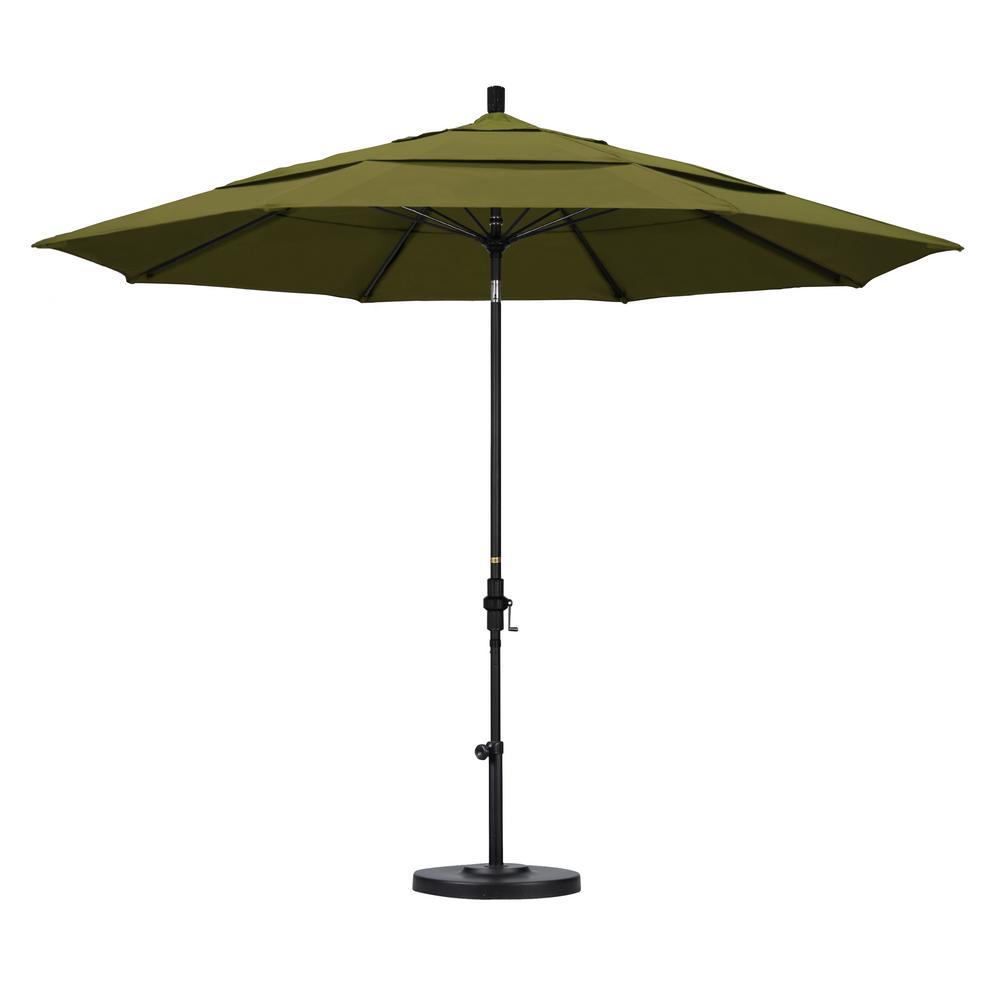 California Umbrella 11 ft. Fiberglass Collar Tilt Double Vented Patio Umbrella in Palm Pacifica