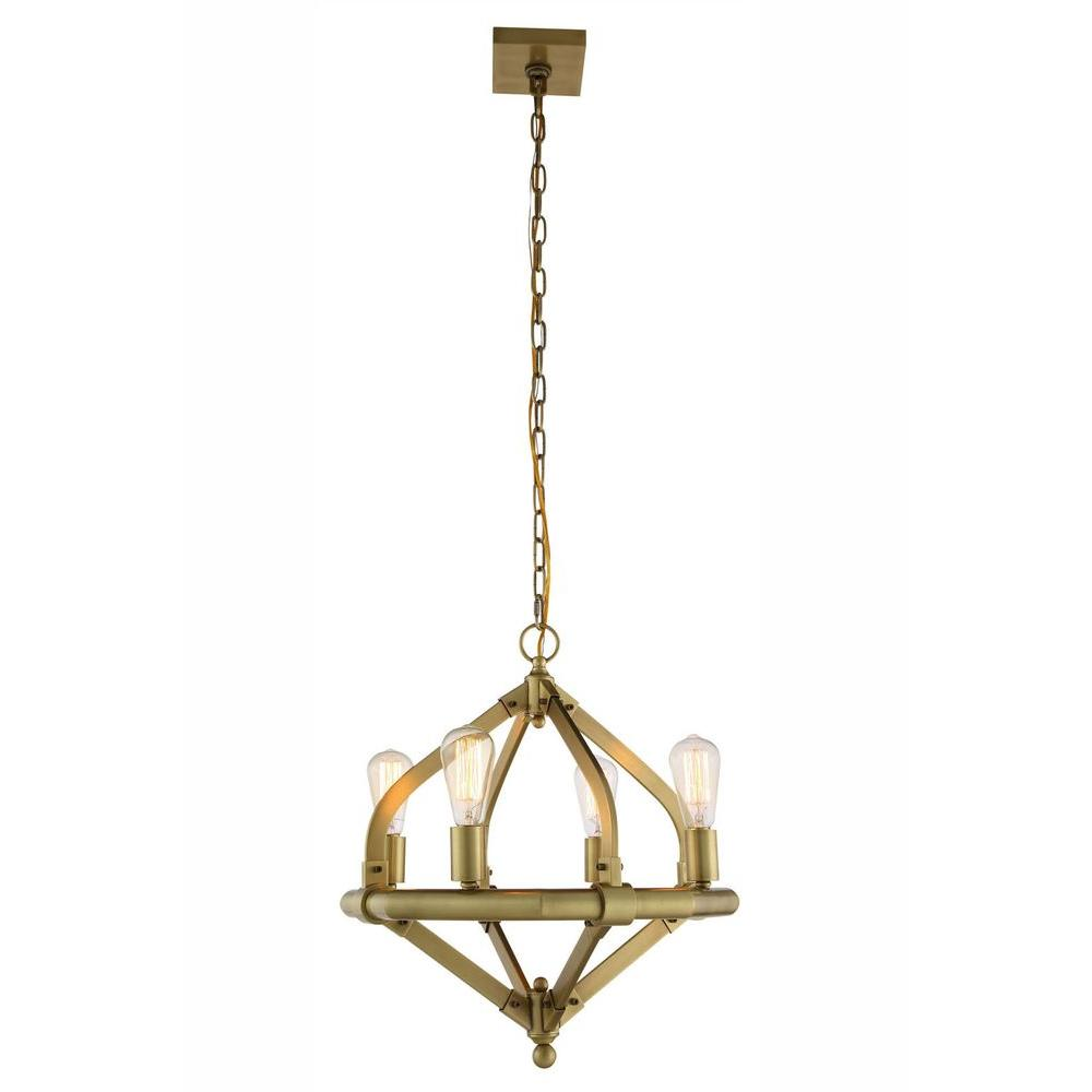 Urban Industrial Double Ring Chandelier: Elegant Lighting Illumina 4-Light Burnished Brass Pendant
